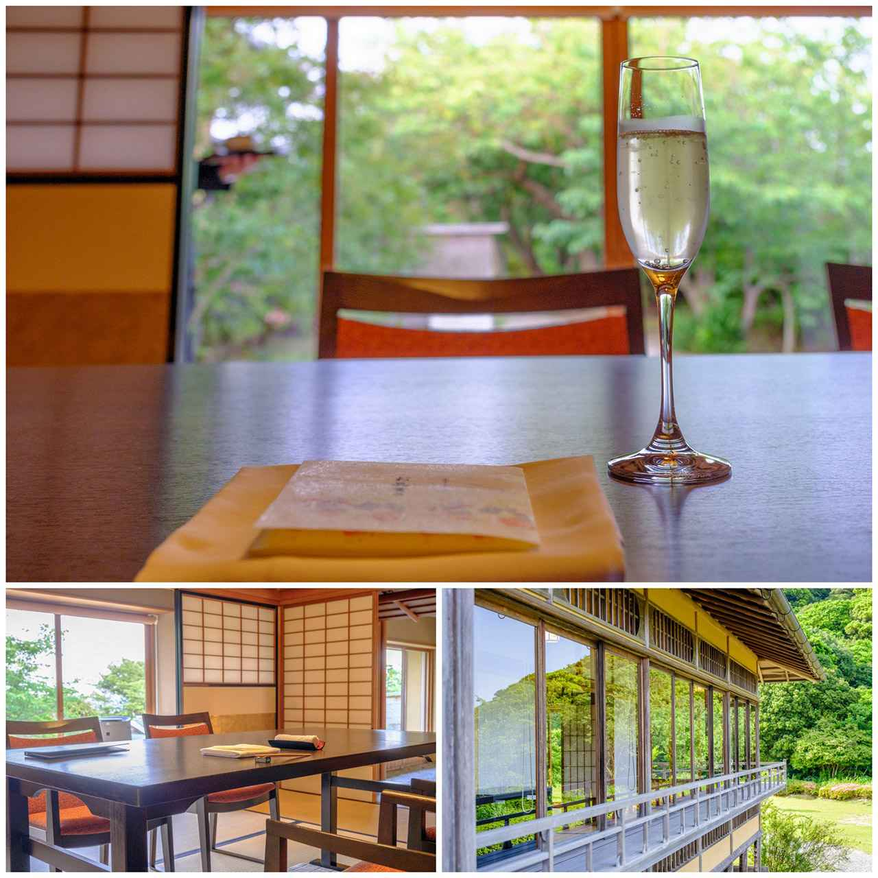 画像: 庭が見える個室で食事をいただきます。