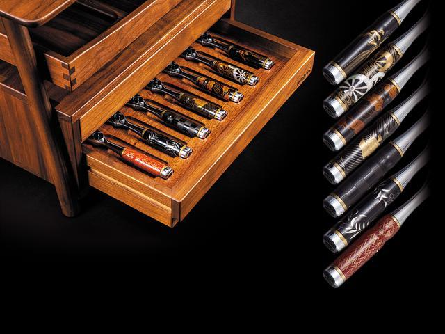 画像: 「京漆器」とまったく同じ手法で作られた漆ラチェットハンドル7種を入り組んだセットも用意する。受注生産。