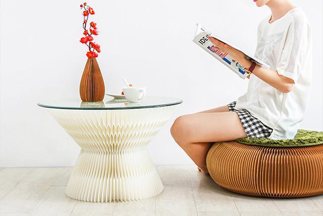 画像1: おしゃれなペーパースツール&カフェテーブル「十八紙」