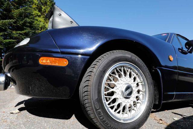 画像: 菊地さん 「車の購入時は純正のアルミホイールを入っていたんですが、NAだとBBSホイールのイメージがありまして。思い切って買っちゃいました!」