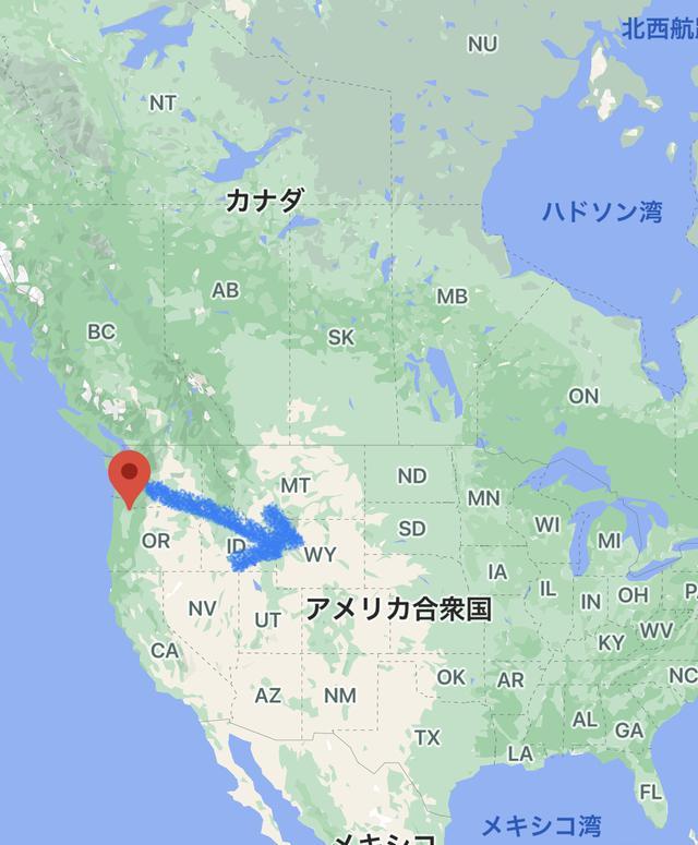 画像: ポートランド→ワイオミングへ goo.gl