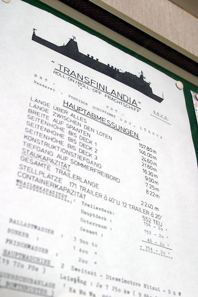 画像: 船内にあったトランスフィンランディア号の諸元(?)表。調べたところ、トレーラーを150台も運ぶことができる大型船だった。
