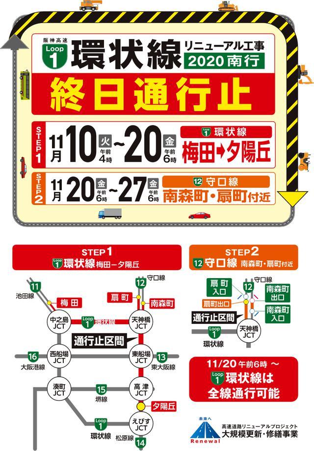 画像: 阪神高速 1号環状線リニューアル工事 2020南行