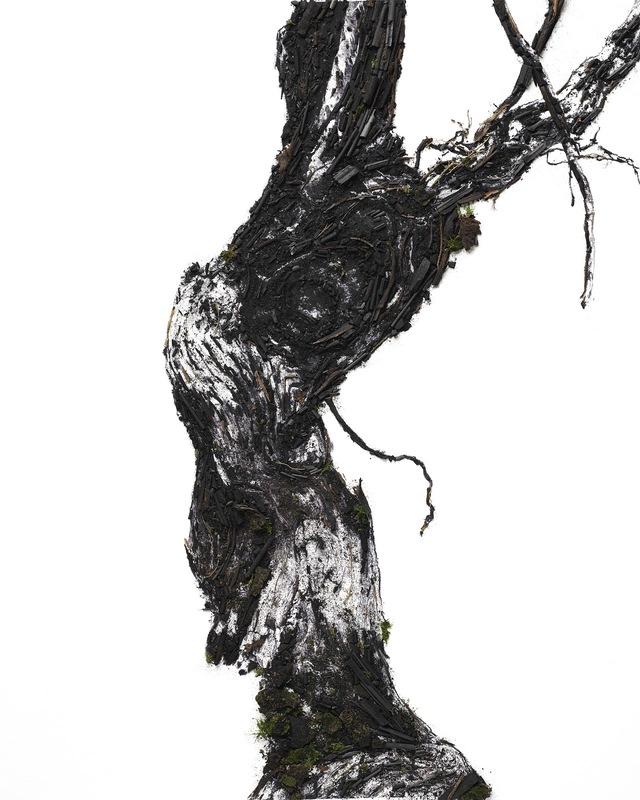 画像: Flow Vine 1 © Vik Muniz x Ruinart , 2019 <FLOW VINE 1> これは二つの独立した作品の一つ。ブドウの幹を再解釈した黒い木材と炭で制作。 極めて精密なプロセスを経て、 鉱物と有機物とを混合して創作された