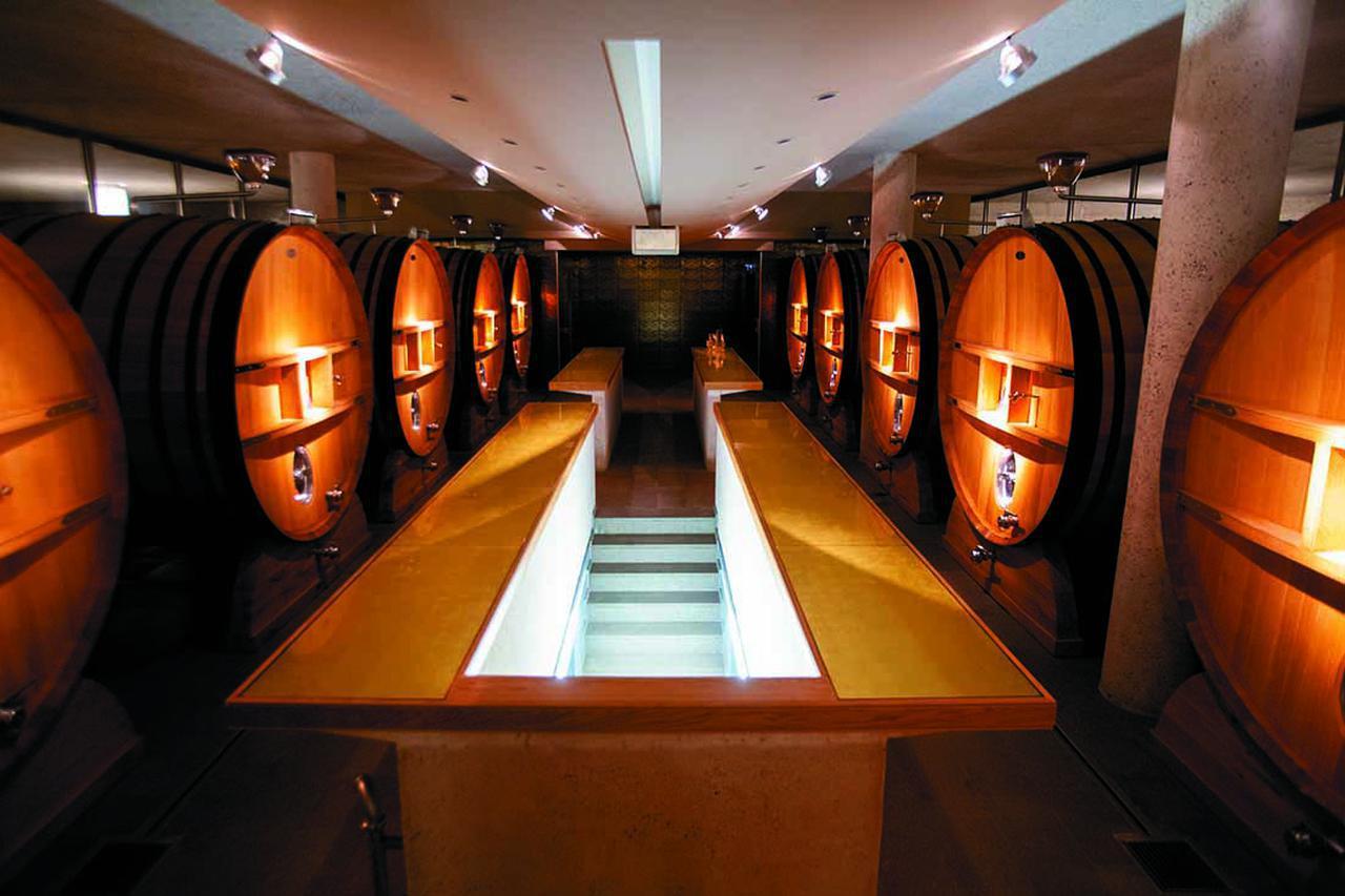 画像: 醸造には大樽も利用する。セラーは見学用にモ ダンにしつらえられている