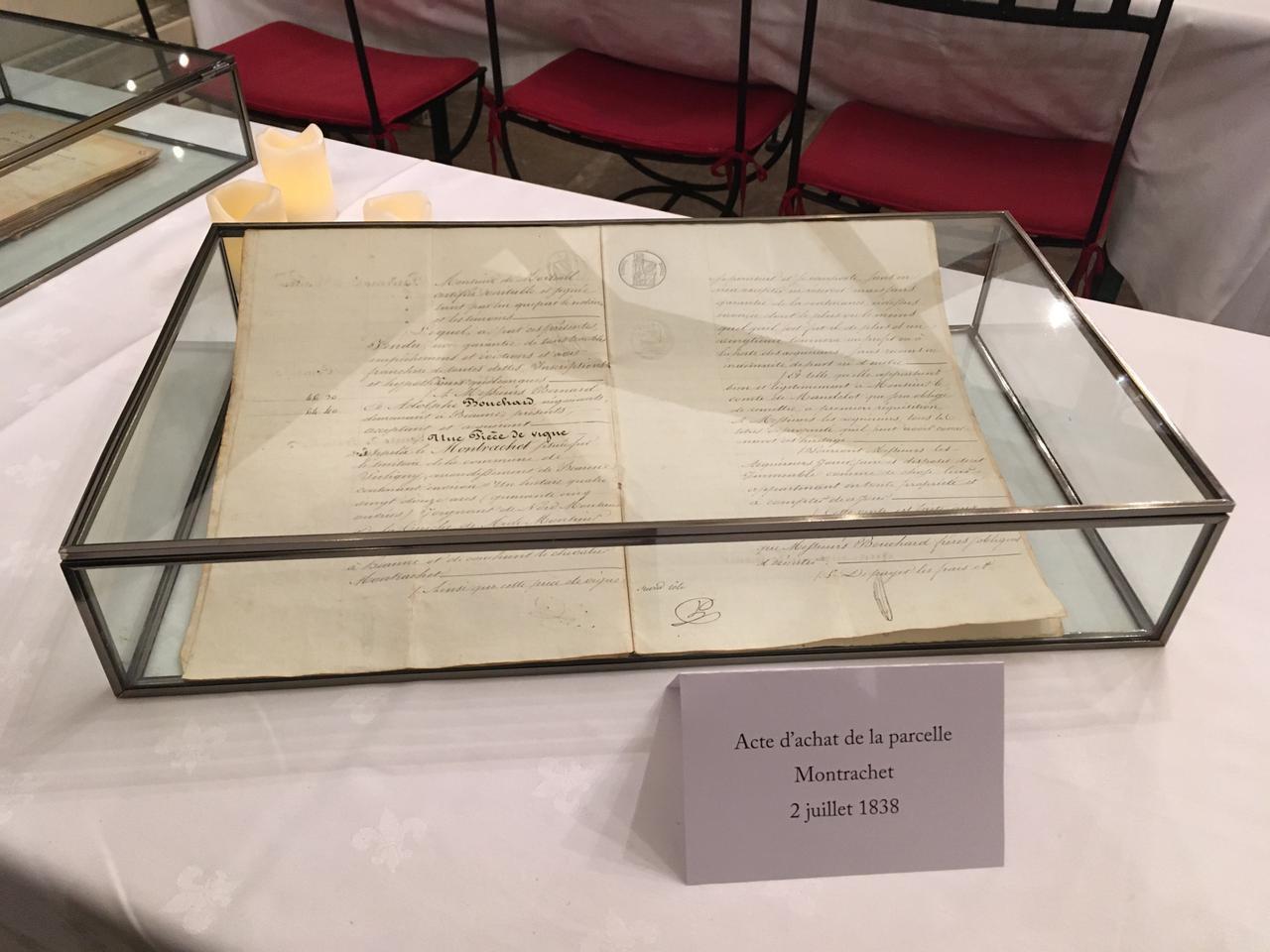 画像: 1838年7月2日、モンラッシェ買収の証文
