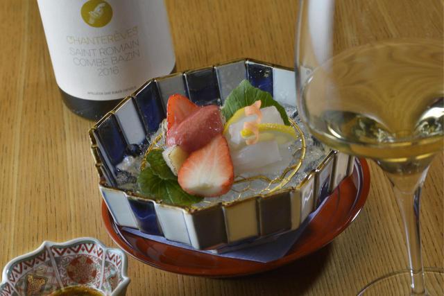 画像: 「鮮魚のお刺身 北の丸スタイル」と『サン・ロマン コンブ・バザン2016年』