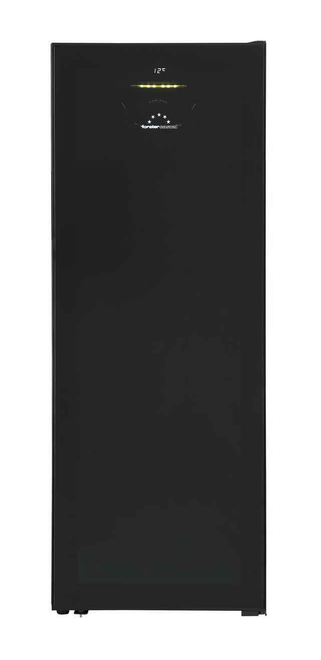 画像: 『ホームセラーFJH-200GS(BK)』。ガラスの中央部にも濃い黒の印刷を施し、あえてワインボトルを隠すことで視覚効果を狙っている