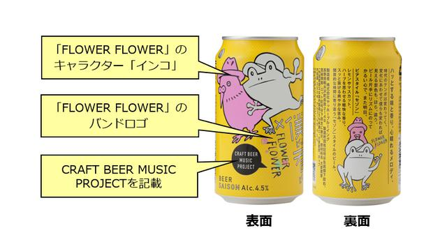 """画像2: """" かえるビール """"にインコが登場!? 「Craft Beer Music Project」の「FLOWER FLOWER」コラボ缶を全国のローソン他で発売"""