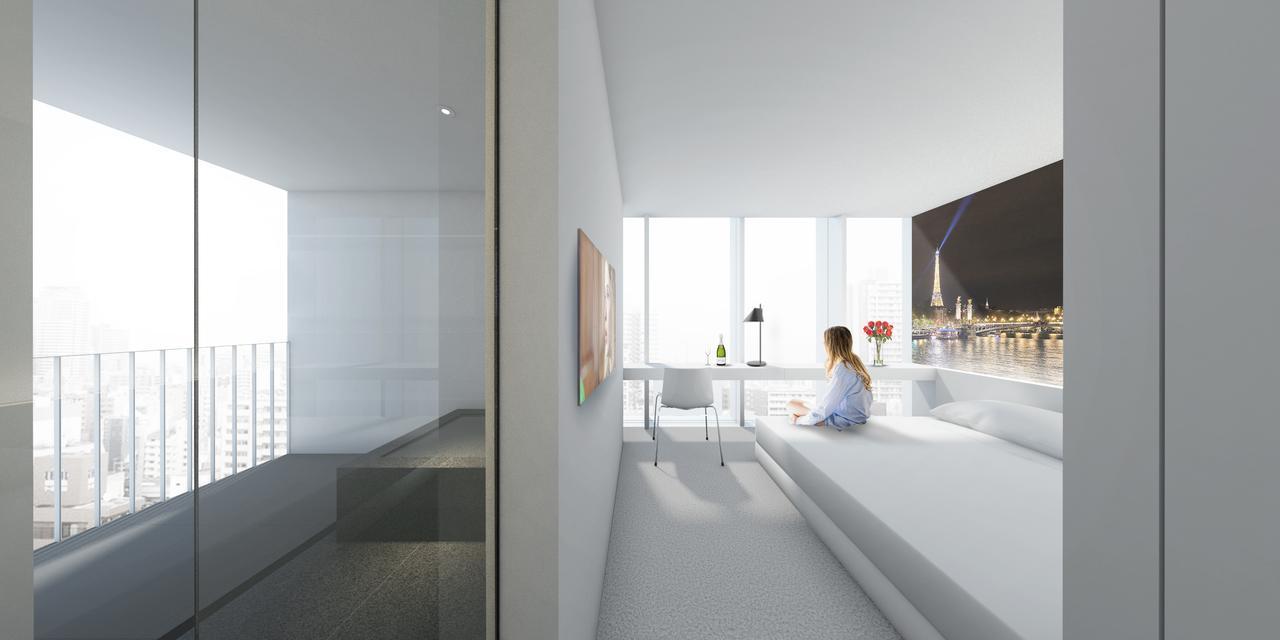 画像: 全客室に半露天風呂がついている