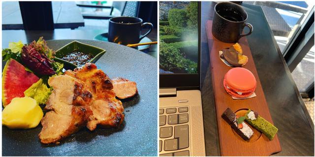 画像: ランチメニューの「ハーブ三元豚のグリル(ライス、季節のスープつき)」1,000円~(左)、パソコン作業中でも食べやすい「デザートアソートセット(ドリンク別)」500円(右)
