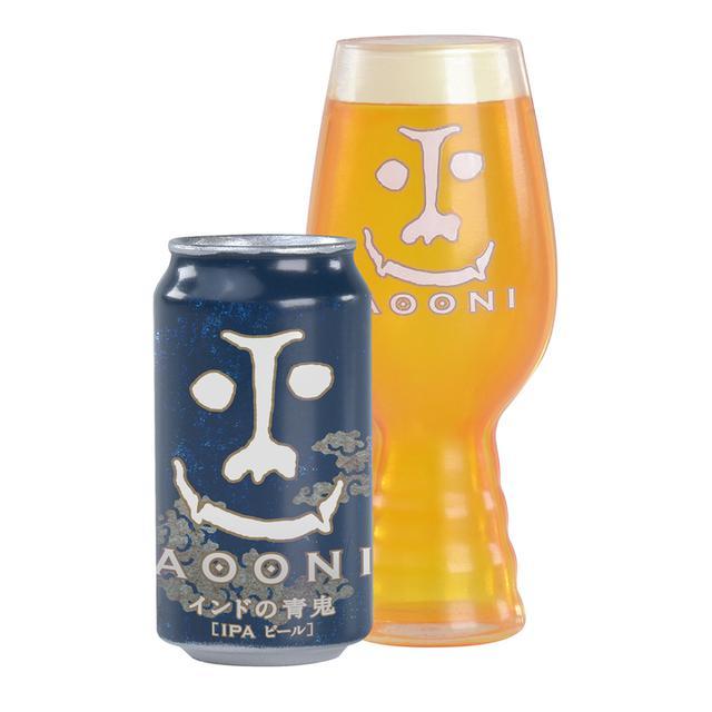 画像: ◀インドの青鬼は「インディアペールエール(IPA)」スタイルの、大量のホップによる驚愕の苦味と鮮烈な香りが個性的な、熱狂的ビールファンの為のクラフトビールです。公式ビアレストラン「YONA YONA BEER WORKS」で使われている専用グラスの、特徴的な凹凸(おうとつ)がある形状も再現しています。サイズ:インドの青鬼:約H2.6cm×W1.3cm / グラス:約H4cm×W1.7cm
