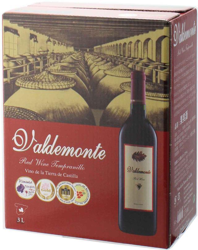画像: この1箱にボトル4本分のワインが! 『バルデモンテ レッド NV』 生産地:スペイン/ヴィノ・デ・ラ・ティエラ・カステーリャ 品種:テンプラニーリョ100% 希望小売価格:3L:2508円(税込)