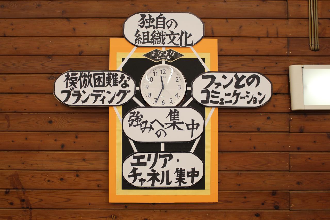 画像: 「よなよなエール」「水曜日のネコ」などのビールで知られるヤッホーブルーイングは2020年、一橋大学大学院経営管理研究科が運営し、独自性のある優れた戦略を実行している日本の企業に与えられる「ポーター賞」を楽天銀行などとともに受賞。写真は授賞式で使用した仮装ボード。御代田醸造所の壁に掛けられている