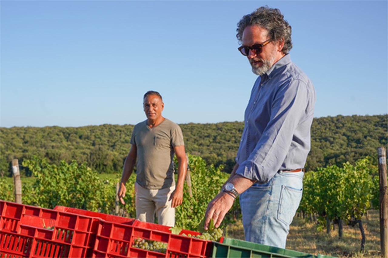 画像: 2021年の最初の収穫。最高醸造責任者のアクセル・ハインツ氏(右)と、栽培責任者のジュリアーノ・タルチ氏