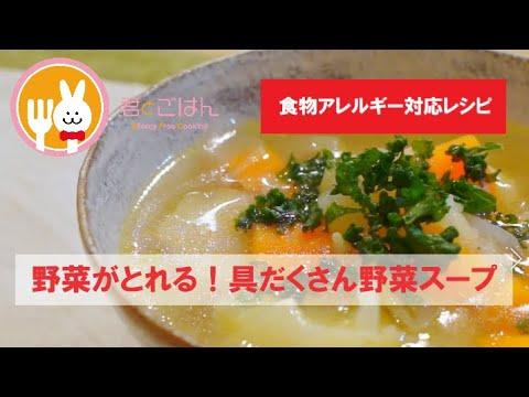 画像: 君とごはん【食物アレルギーレシピ】1皿でしっかり野菜がとれる!具だくさん野菜スープ【卵・乳・小麦不使用】 youtu.be