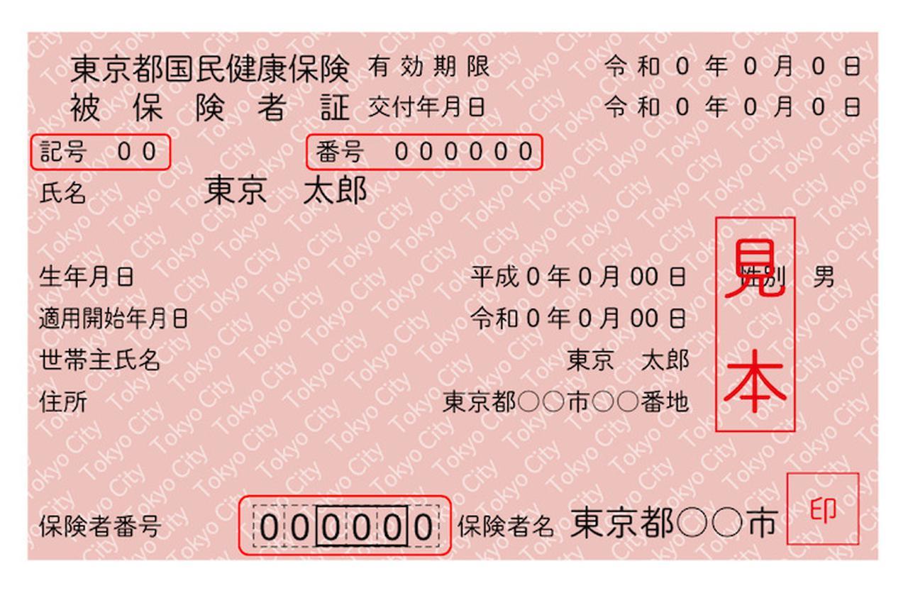 画像2: 赤枠が「記号」「番号」「保険者番号」を示す。