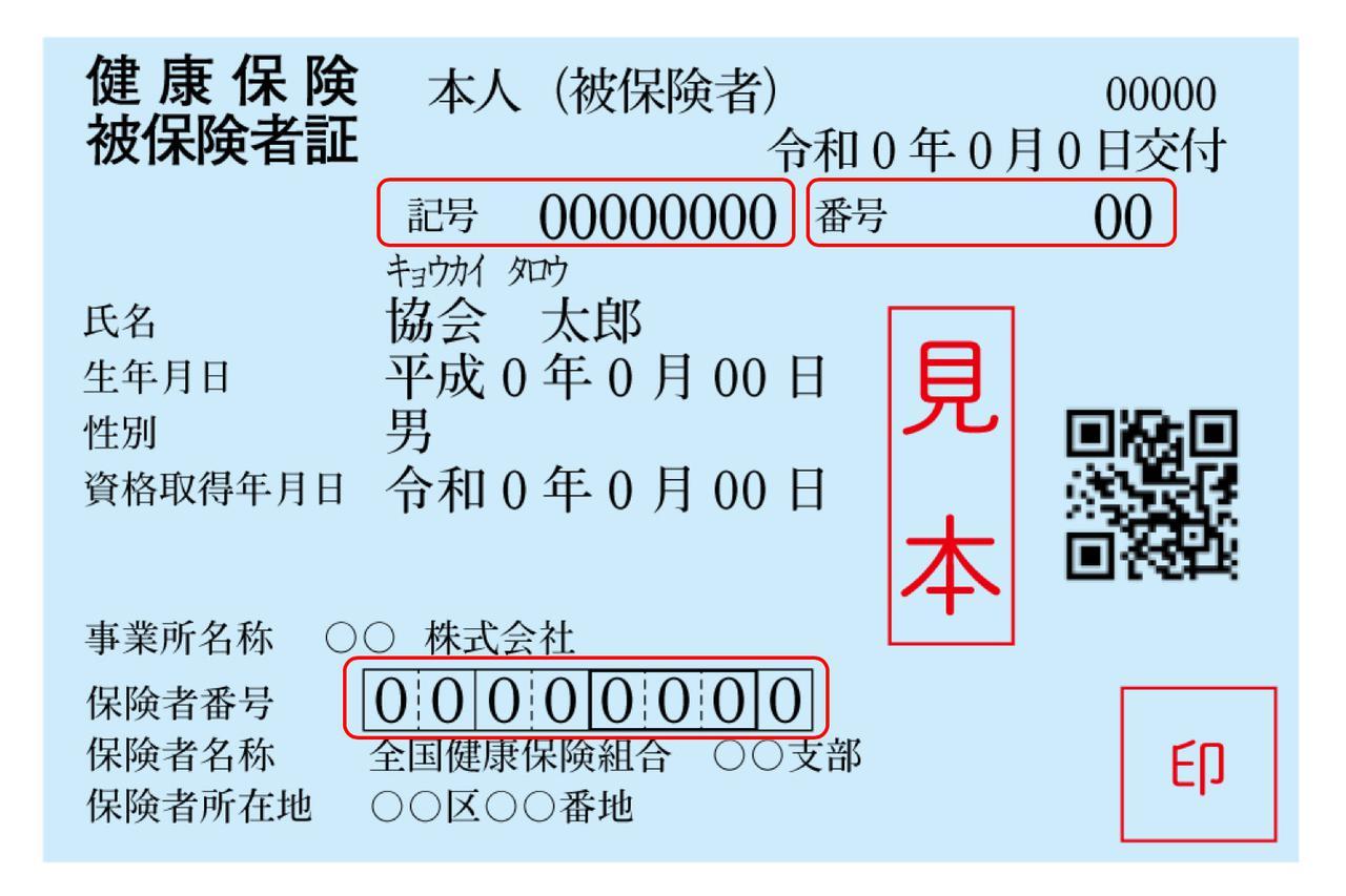 画像1: 赤枠が「記号」「番号」「保険者番号」を示す。