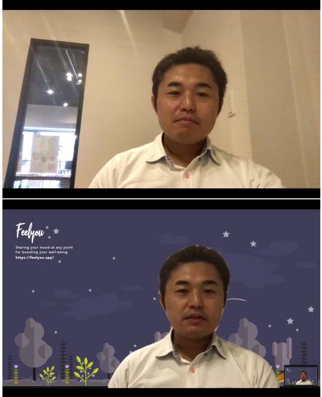 画像: 小林さんとのウェブ取材の一幕。下の画像では自社アプリ「Feelyou」の壁紙を利用した背景に切り替えています。このように、背景を利用して自社サービスの雰囲気を伝えるなど、宣伝に活用することもできます。