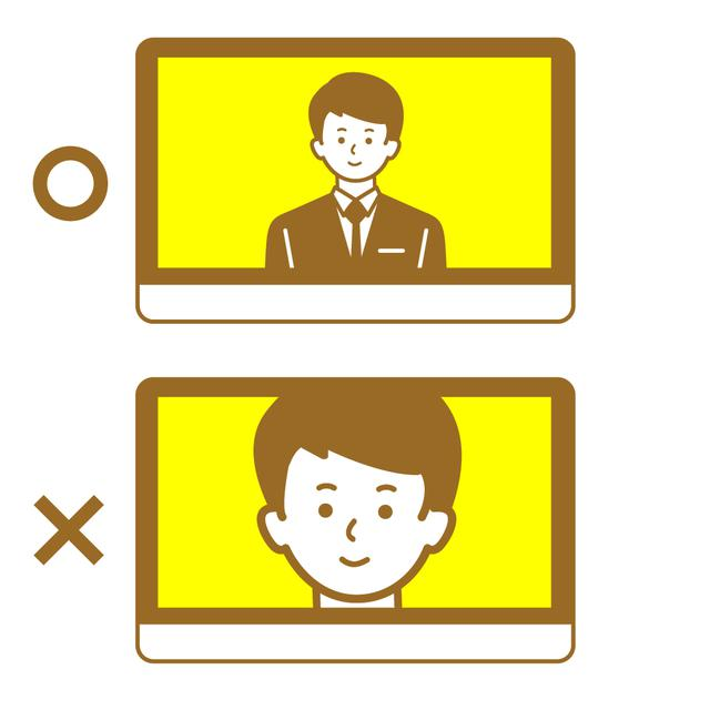 画像: (3)モニターで見える自分の姿を事前チェック