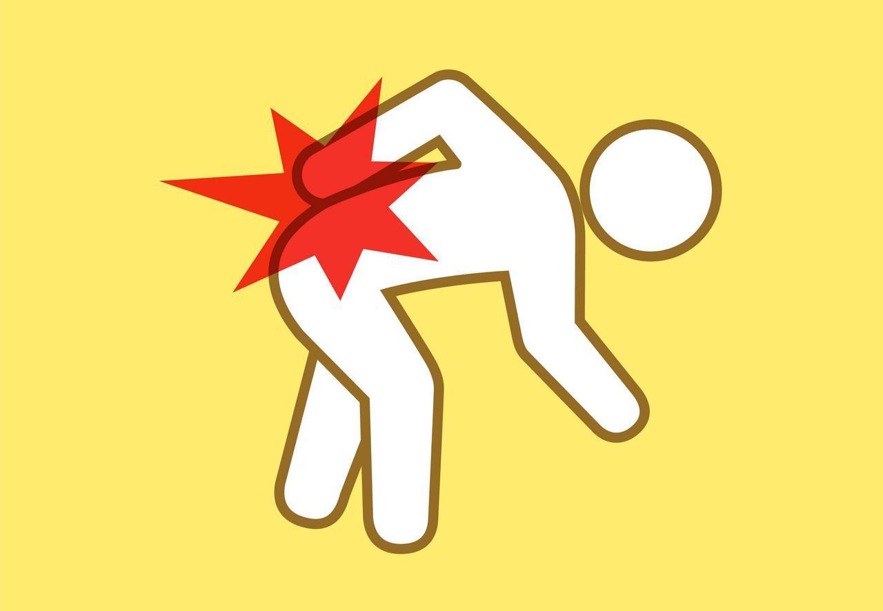 画像: (3)前に屈むと痛む腰痛