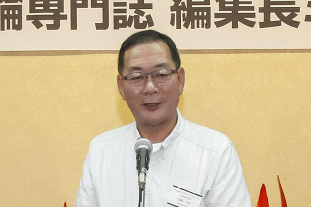 画像: 懇親会で挨拶するHMJ加藤千明社長