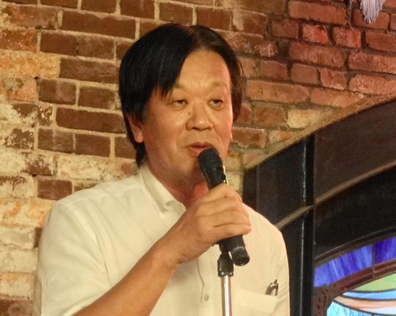 画像: BLF後の関係者による懇談会では、神戸に本社を持つ川崎重工業の富田健司常務取締役・MC&Eカンパニープレジデントが挨拶
