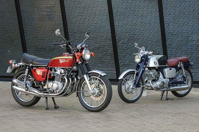 画像: 誕生から50年を迎えた「ドリームCB750FOUR」(69年、左)と、60年を迎えた「ベンリイCB92スーパースポーツ」(59年)
