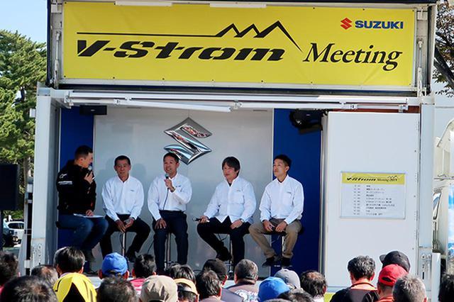 画像: トークショーでのVストローム開発担当者ら(右4人)とノアさん