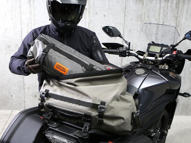 画像: テントはツーリングドラムバッグに収納可能で、積載時の安全性にも配慮