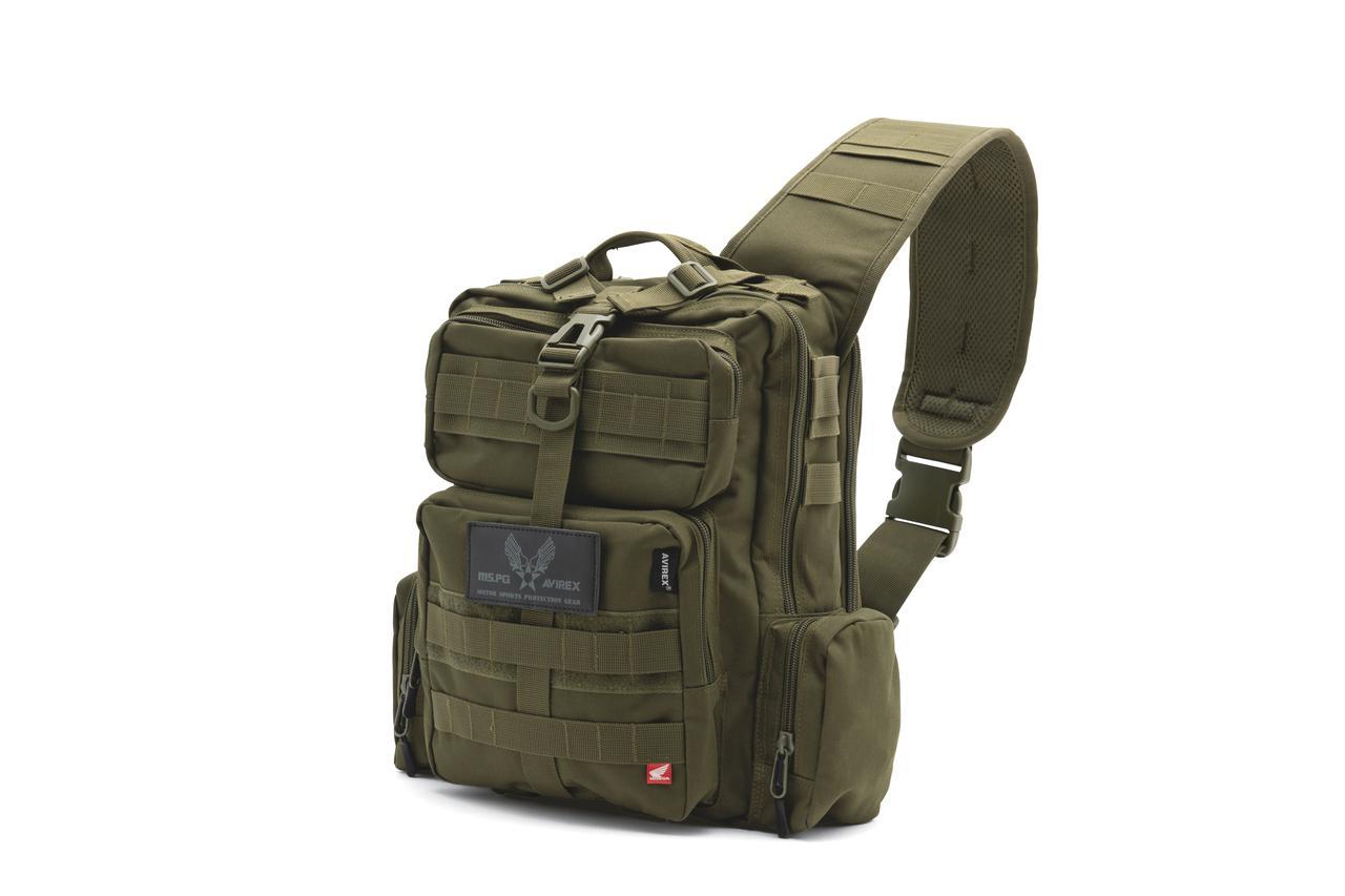 画像: ▼タクティカルボディバッグ(8580円)=ワンショルダータイプのバッグ。裏地には撥水加工が施されており、水の染み込みを防止する