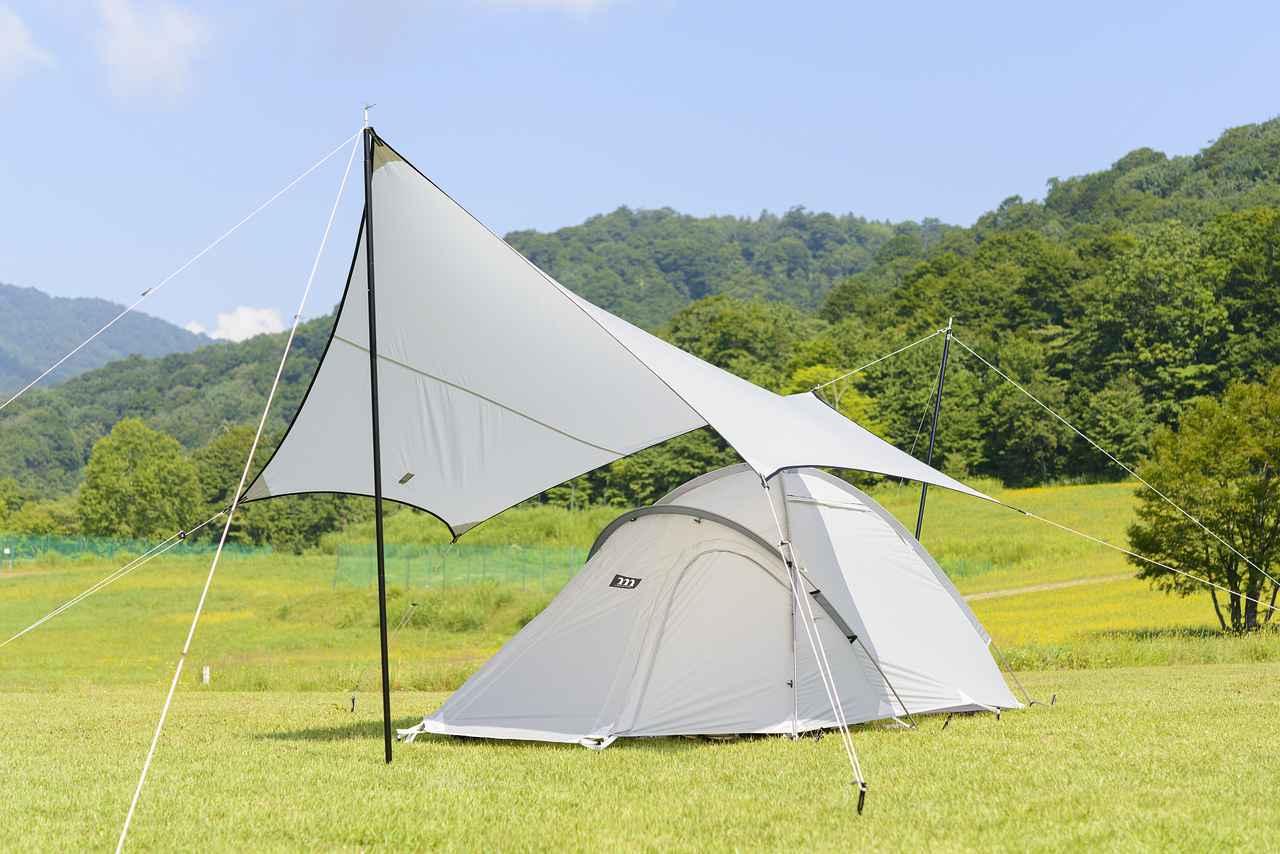 画像: ムラコデザインのテント&タープ これは第2回の福島の時 テント&タープは岩城さんの私物です