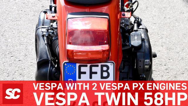 画像: Twin Vespa PX 58 PS auf Scooter Center Prüfstand Motorino Diavolo www.youtube.com