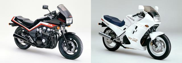画像: 750Fの後継モデルであるCBX750F(左)とVFR750F