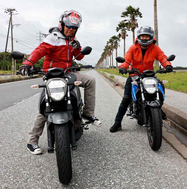 画像: (左)ジクサー250に乗るパイセン中村 (右)ジクサー150に乗るコーハイてっぺー