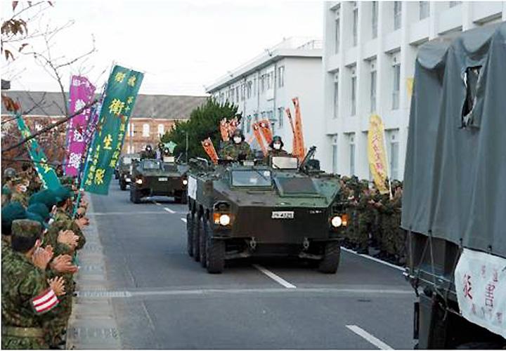 画像: 任務を必成し帰隊する第15即応機動連隊(善通寺駐屯地)