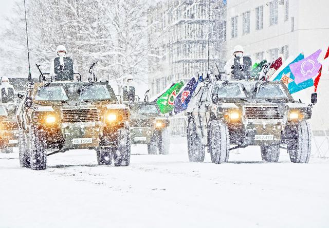 画像: 観閲行進をする観閲部隊