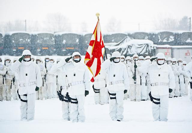 画像: 観閲官に敬礼をする観閲部隊