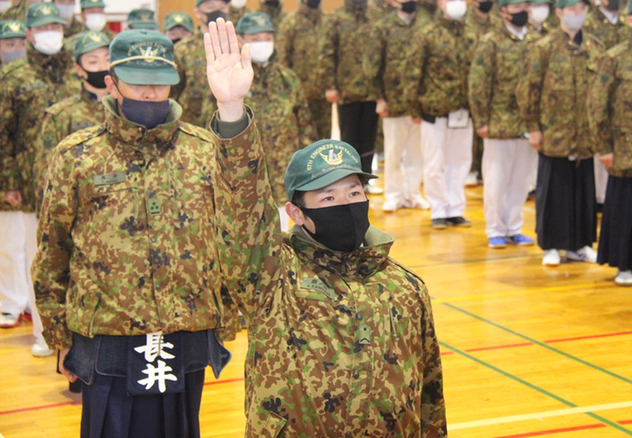 画像: 第1中隊 鹿ノ内3曹による選手宣誓