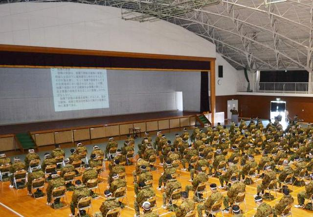 画像: 感染防止対策を万全に講じた隊長訓話会場