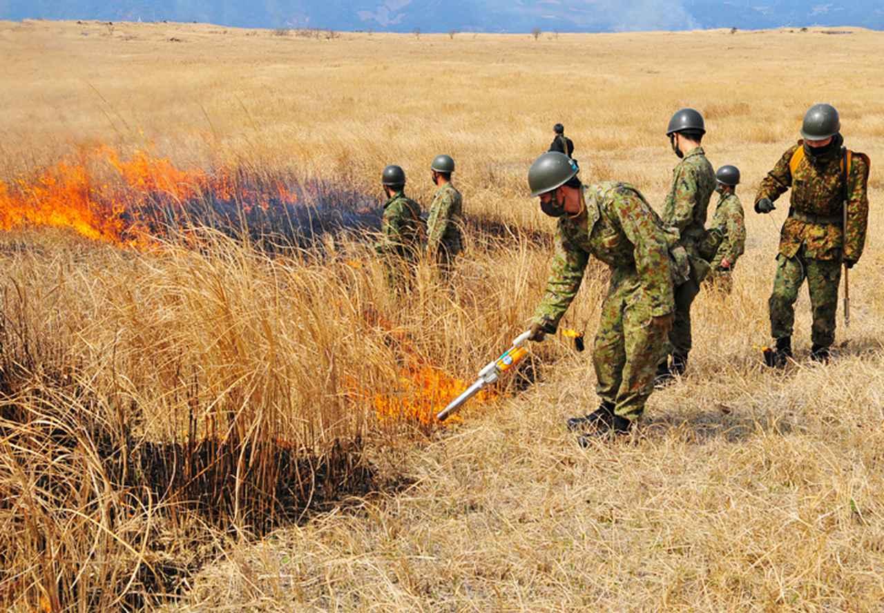 画像5: 訓練環境の維持向上 43普連が霧島演習場を野焼き|都城駐屯地