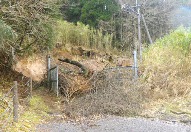 画像: 土砂で寸断された道路の啓開(整備前)
