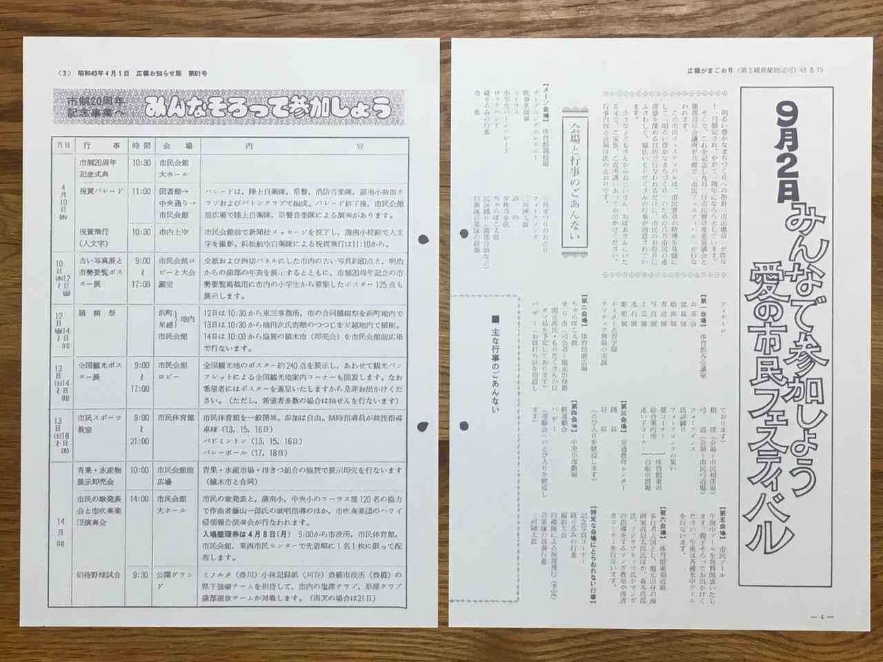 画像: ブルーが飛んだ記録がある1973.9.2蒲郡市民フェスティバル(左)と1974.4.10蒲郡市制20周年記念事業の告知記事(広報がまごおり1973.8.15号と1974.4.1号)