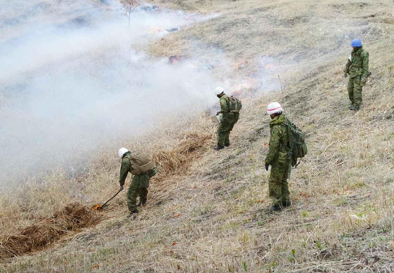 画像: 野焼き作業
