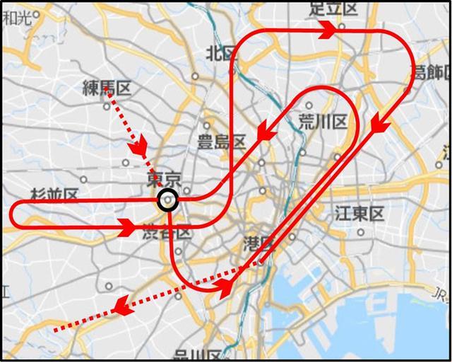 画像: 東京オリンピック開会式当日の飛行ルート(出典:航空自衛隊Twitterより(7月15日発表)) twitter.com