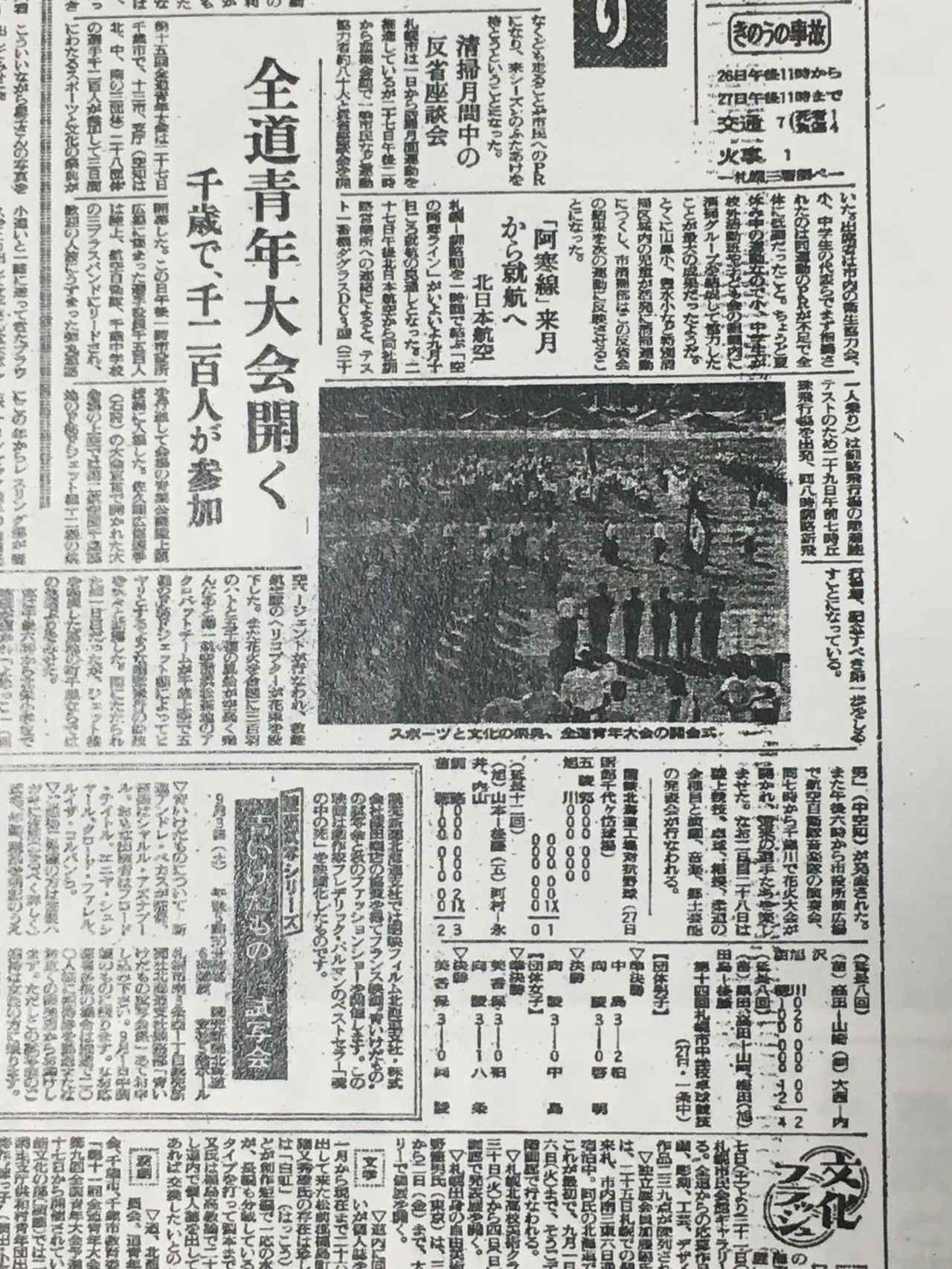 画像: 1960年8月28日(日)付の読売新聞(札幌)市内版に残る「全道青年大会」の記事。札幌市内のトピックを報道する面なので、市外となる千歳市での大会への注目ぶりがわかる。