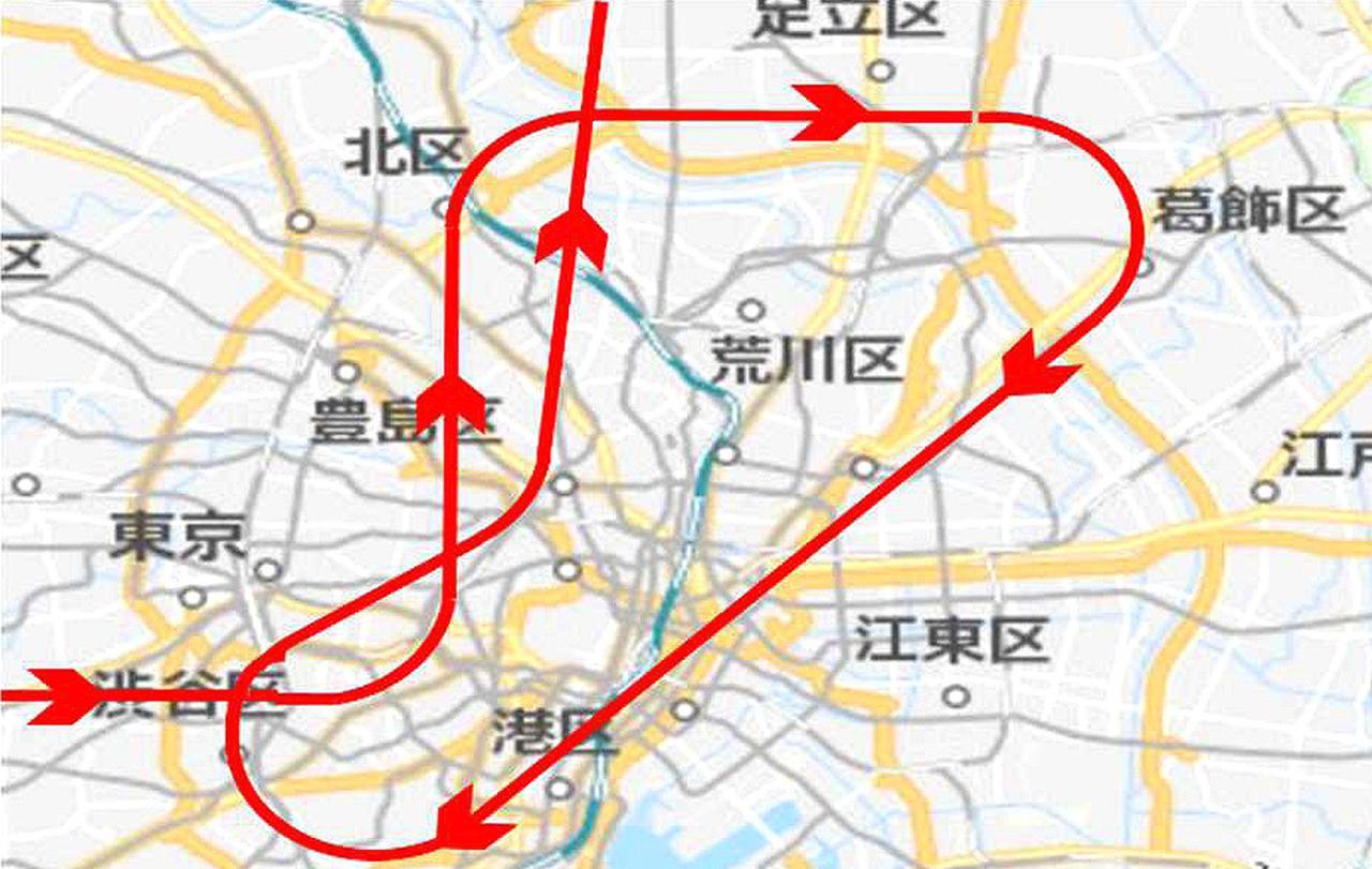 画像: 東京パラリンピック展示飛行の経路 航空幕僚監部報道発表資料より