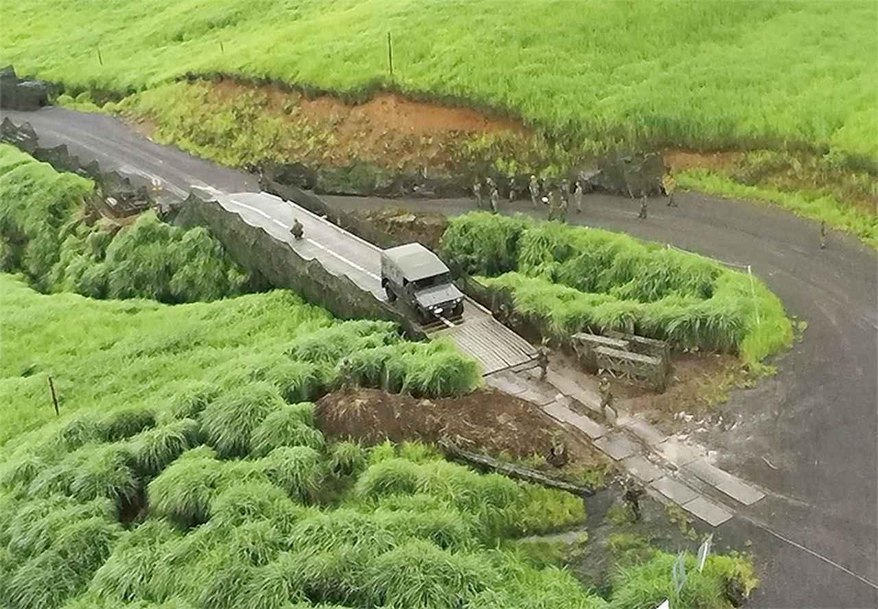 画像: 架設完了したパネル橋MGBの全景(第103施設器材隊)