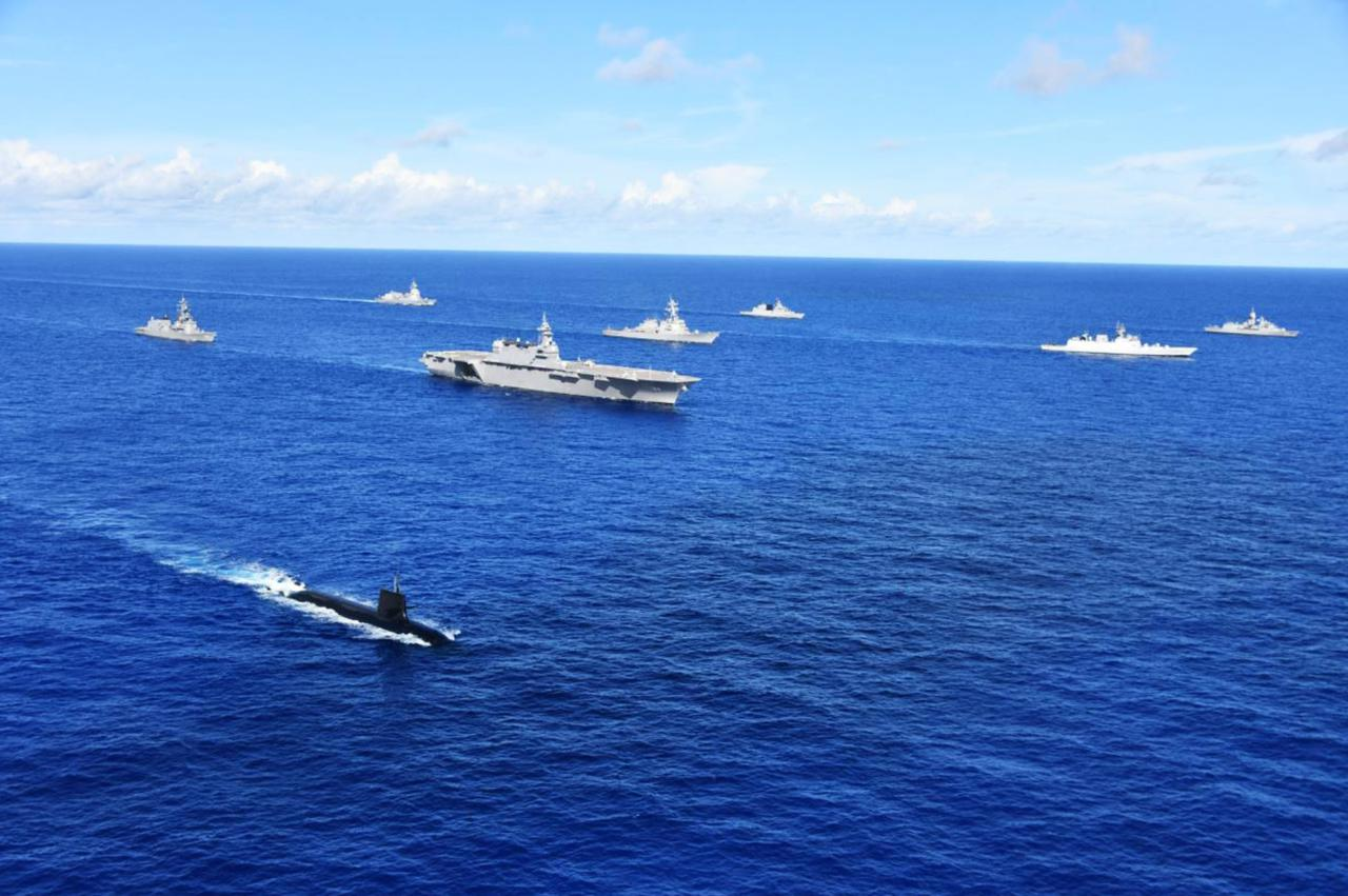 画像: 訓練に参加した日米印豪の各艦艇