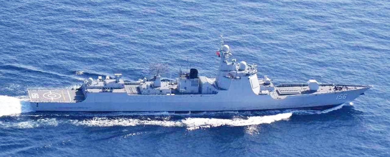 画像: ルーヤンⅢ級ミサイル駆逐艦(156) 統合幕僚監部 報道発表資料より